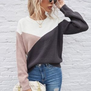 Crew neck knit multicolor charcoal sweater